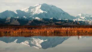 A mountain and reddish grasslands also reflected in a lake