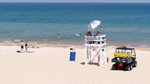 Lifeguard stand and vehicle on beach near people walking and swimming