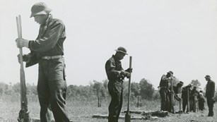 Historic image shows workers in uniform using tools to dig a row of fence posts.