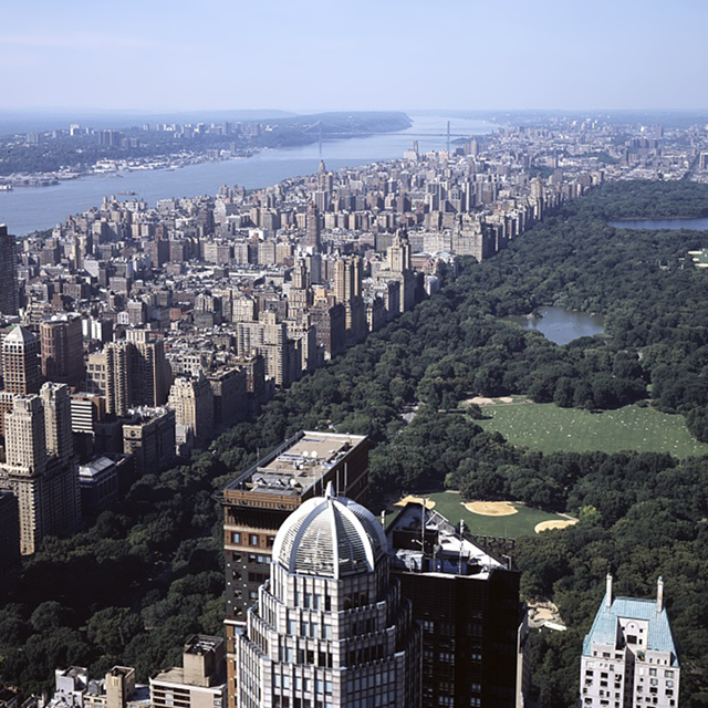 An aerial view of green Central Park, rimmed by buildings of New York City.