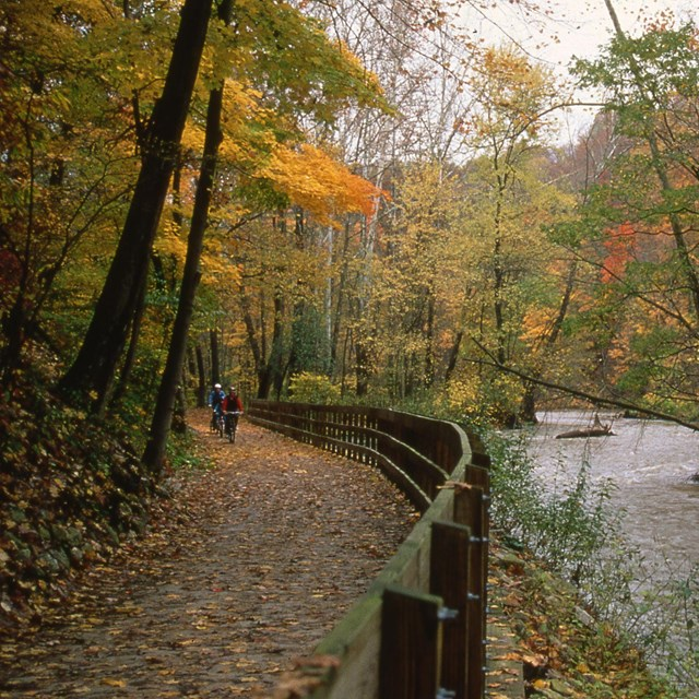 Cyclists ride on a paved trail next to a river, which is lined with trees with orange leaves.