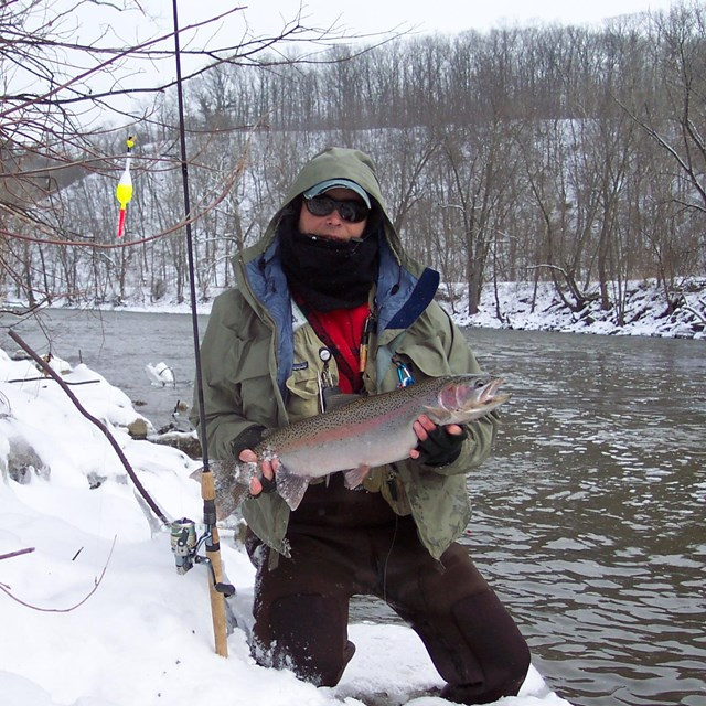 Fisherman holds a Steelhead.
