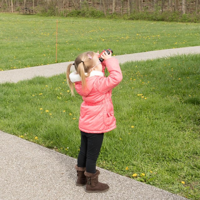 A young girl in a pink coat standing on a path looks off to the right through a pair of binoculars