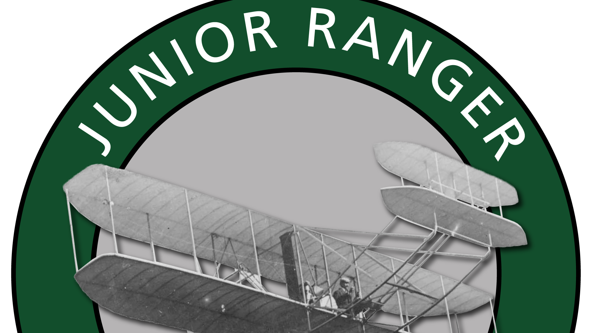A picture of a Wright brothers plane on the Jr. Ranger logo background