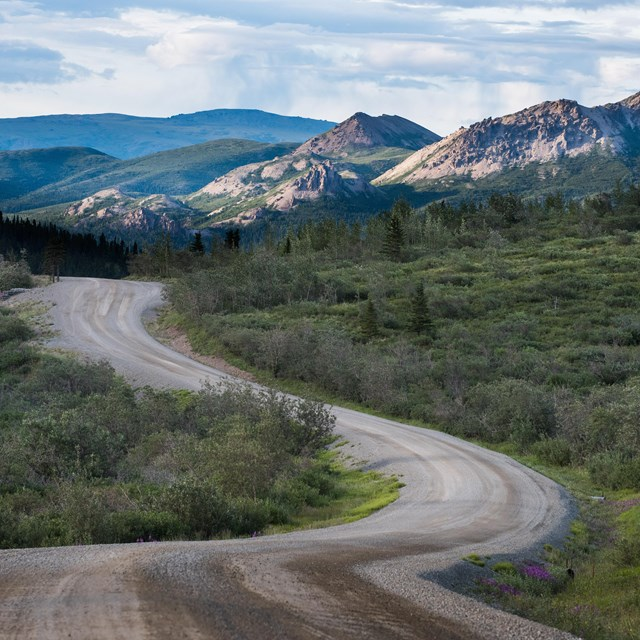 a dirt road winding through brushy hills and mountains