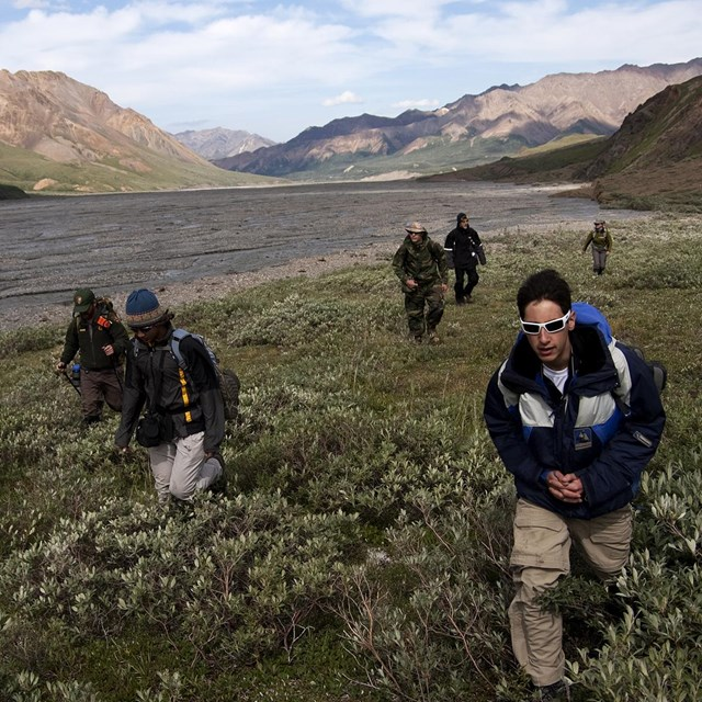 a group of students hike across the tundra