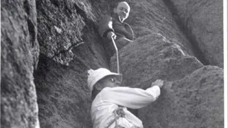 Early Devils Tower Climbers -Laurence Coveney and Fritz Wiessner 1937
