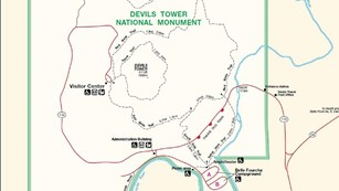 The Devils Tower National Monument map