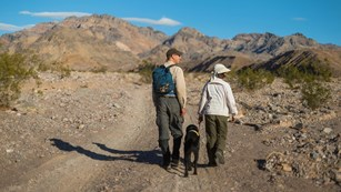 two people walk down a dirt road with a dog on leash