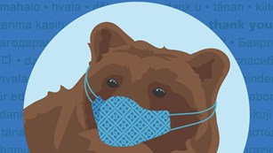 Graphic of a bear wearing a mask