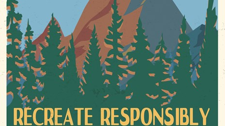 Poster with a graphic of a mountain and forest and the words