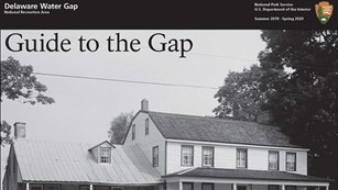 Front page of the Guide to the Gap publication with a black and white photo of a historic house.