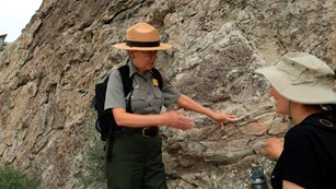 A ranger talking to a visitor