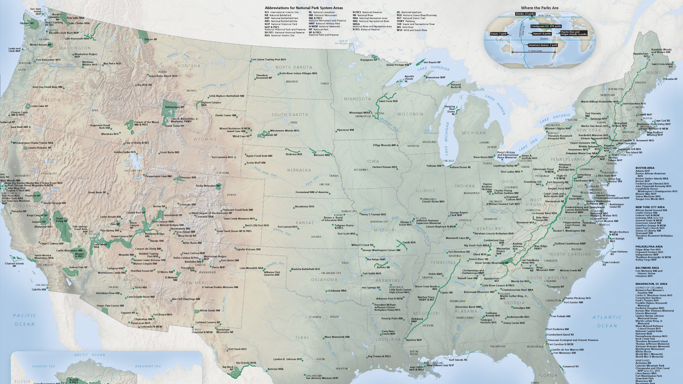 Map of national parks across the United States