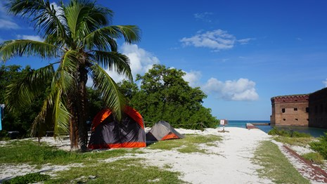 Tents set up on a sandy beach with vegetation, the ocean, and a brick structure