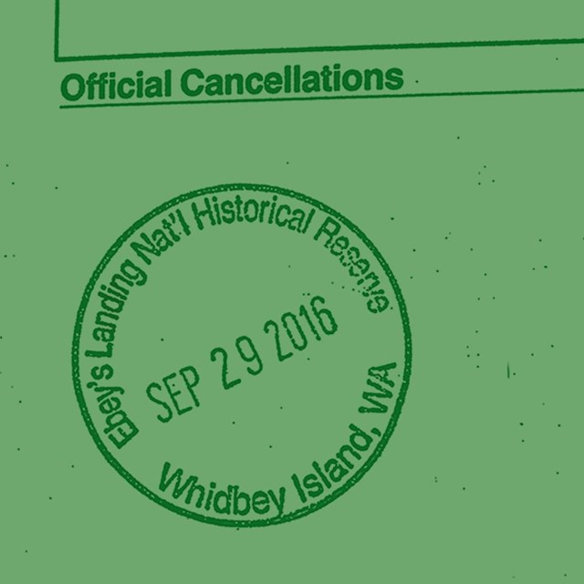 Green sketch of the Ebey's Reserve passport stamp