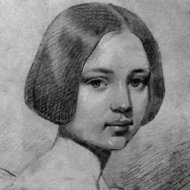 Black and white illustration of a young girl with short, dark hair.