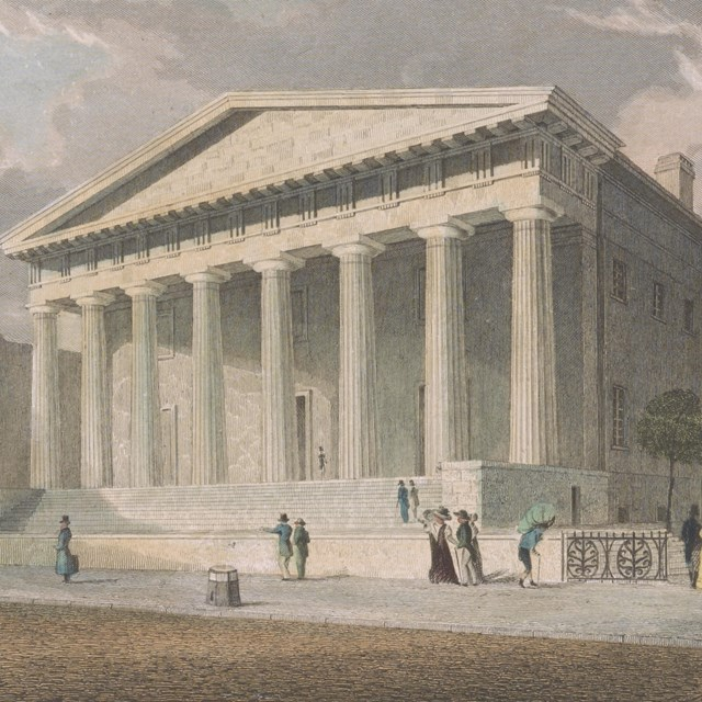 Color engraving showing pedestrians on the sidewalk in front of a Greek revival style building.