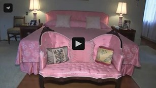 A picture of Ike and Mamie's master bedroom. It's decorated in Mamie's favorite color - pink/