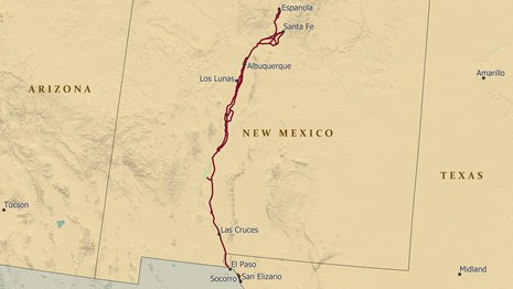 An image of a map of the southern USA & Mexico, depicting a trail from Santa Fe to Mexico City.