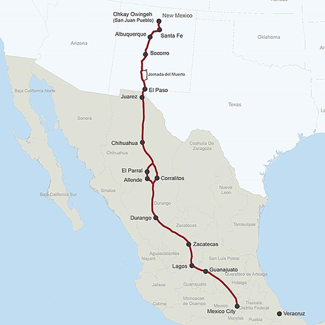 A map depicting a trail from Santa Fe south into Mexico.