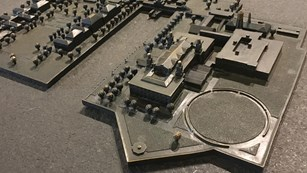 A 3-D model of Ellis Island for visitors to feel the different elements of the island.