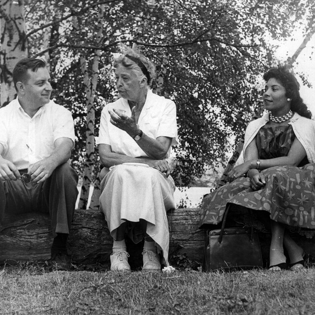 A man and three women sit on a log in conversation.