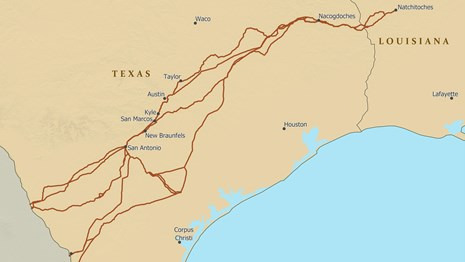 A map depicting the trail route from Nacogdoches to southwestern Texas and Mexico City.