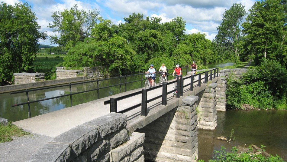 Cyclists on the Erie Canalway Trail
