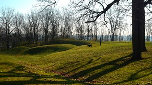 Landscape contours remain at the site and help visitors imagine the fort's layout when it was built.