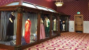 Galley space with First Lady dresses on display