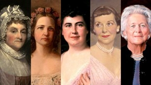 Portraits of Abigail Adams, Mary Lincoln, Edith Wilson, Mamie Eisenhower, and Barbara Bush