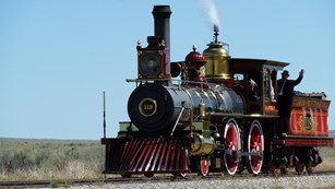 19th-century steam engine on a track