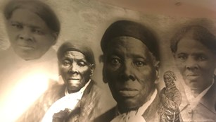 A collage of photographs of Harriet Tubman throughout her adult life