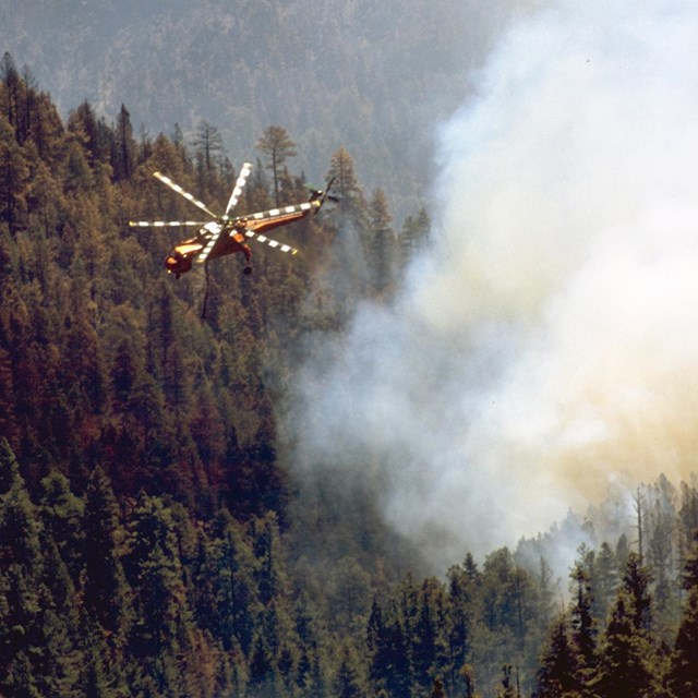 A helicopter flies over a forest with a smoke plume rising.