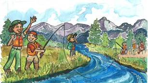 Cartoon of park ranger and kid learning to fish in river