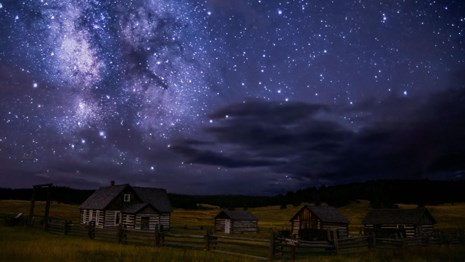 View of starry sky over Hornbek Homestead.