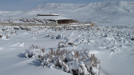visitor center in snow covered landscape