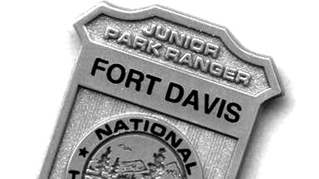 Junior Ranger Badge that says Fort Davis on it