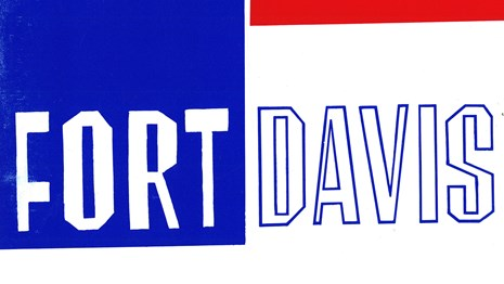 A red, white, and blue book cover with Fort Davis written in block lettering.