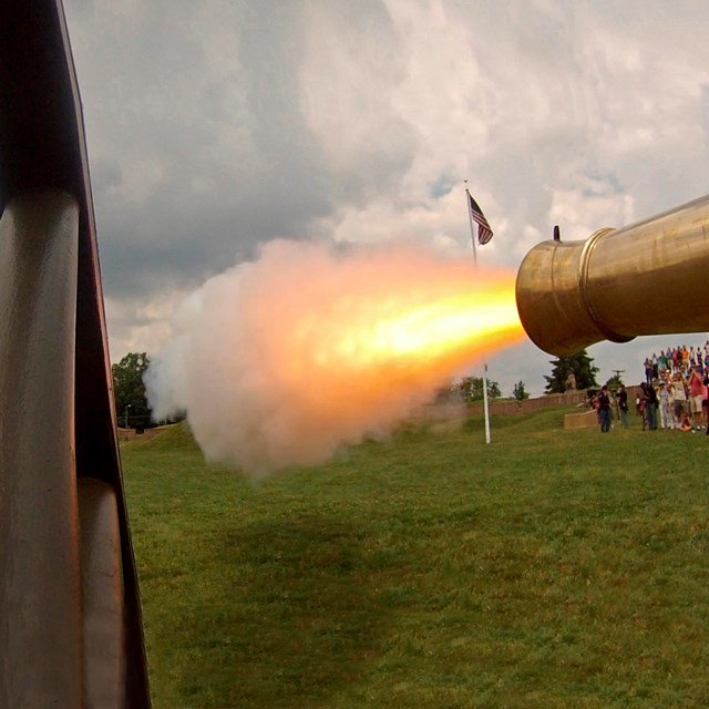 A cannon firing