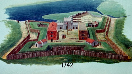 Color Drawing of Fort Frederica in 1742