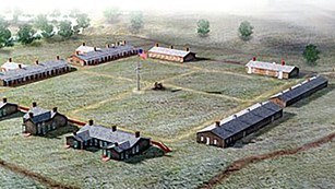 Aerial view artwork image of Fort Larned