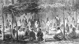 Historic drawing of Indians and soldiers meeting in the woods.