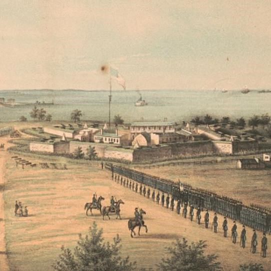A painting showing the fort during the civil war with lines of Union soldiers in front of it.