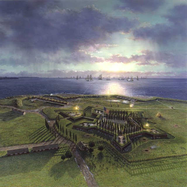 An artistic depiction of the defense of Fort McHenry showing the British bombing the fort.