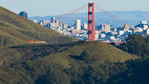 View from Battery Marin Headlands with Golden Gate Bridge and San Francisco in background.