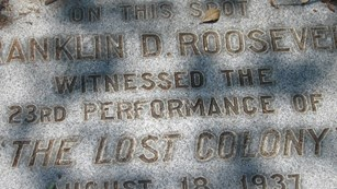FDR marker at Waterside Theatre