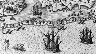 Contemporary illustration of 1584 English arrival