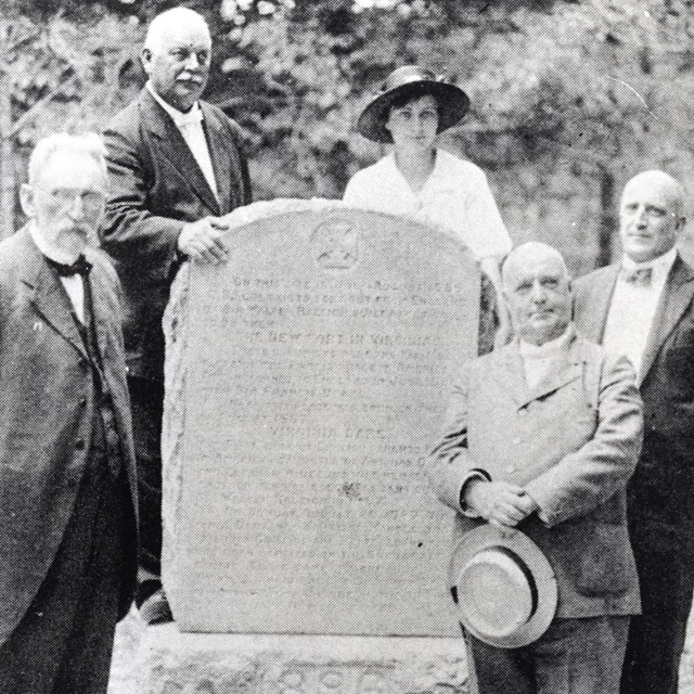 Virginia Dare Monument in 1896 with 5 people